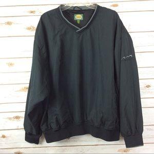Black pullover v-neck poly lined golf windbreaker